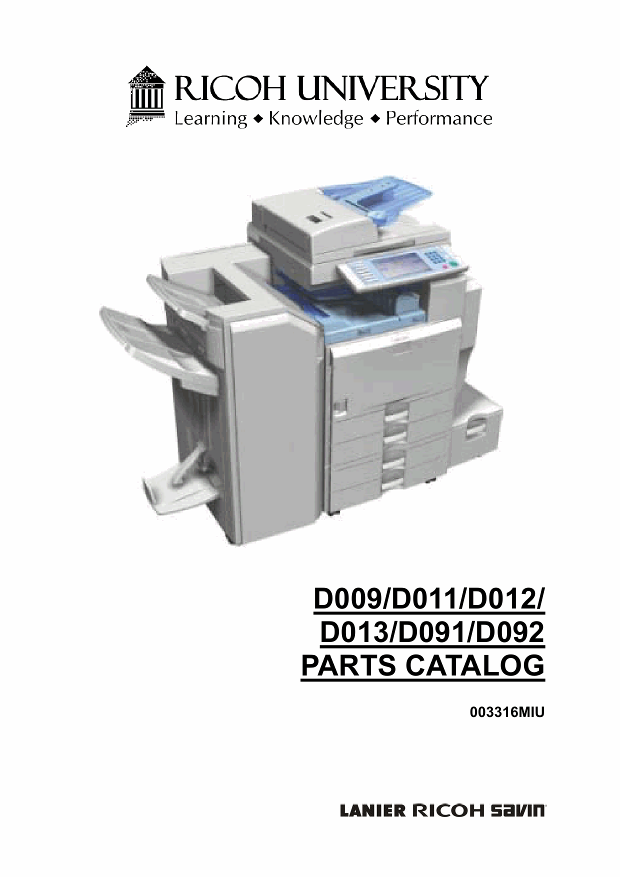 RICOH Aficio MP-4000 4001SP 40001G 5000 5001SP 5001G D009 D011 D012 D013 D091 D092 Parts Catalog-1